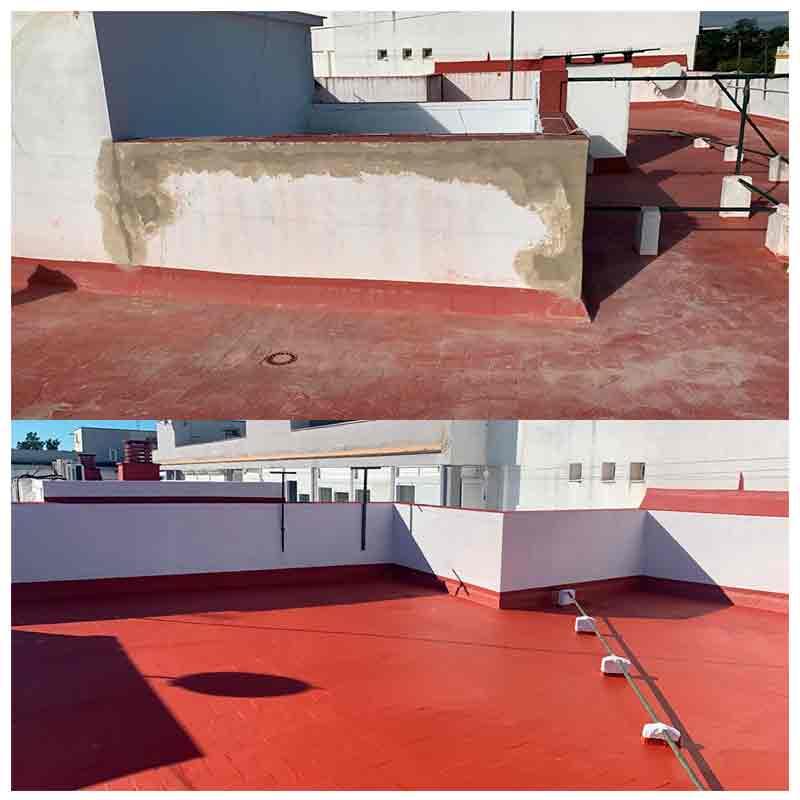 Antes y después de la impermeabilización de una terraza