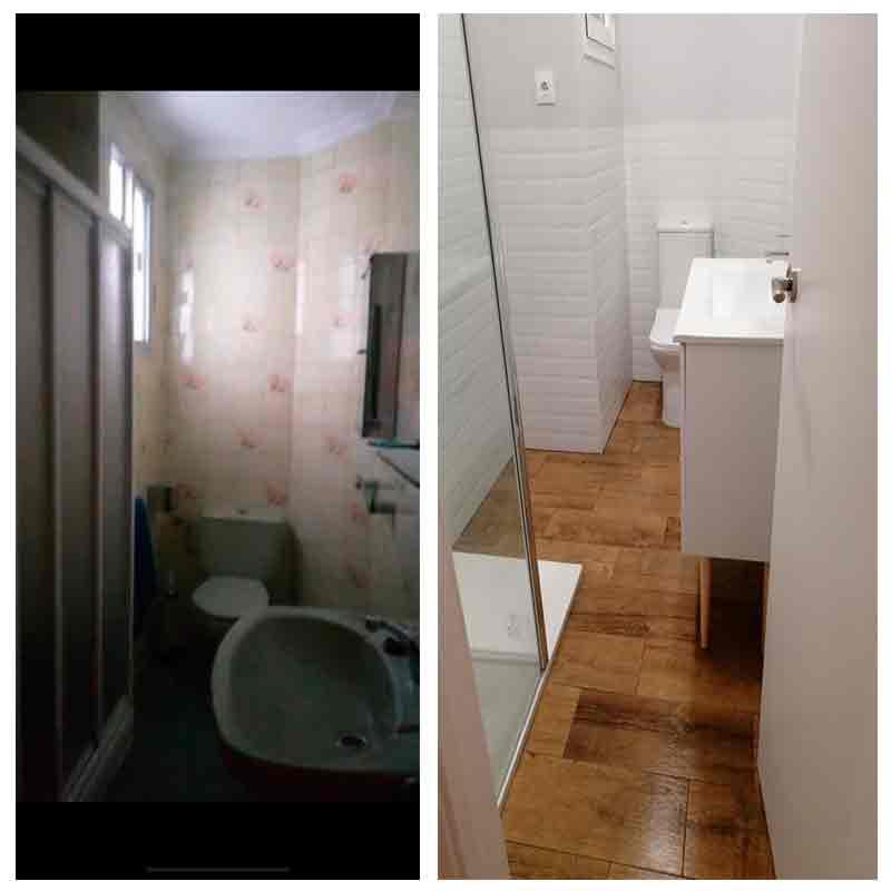 Baño antes y después de reforma