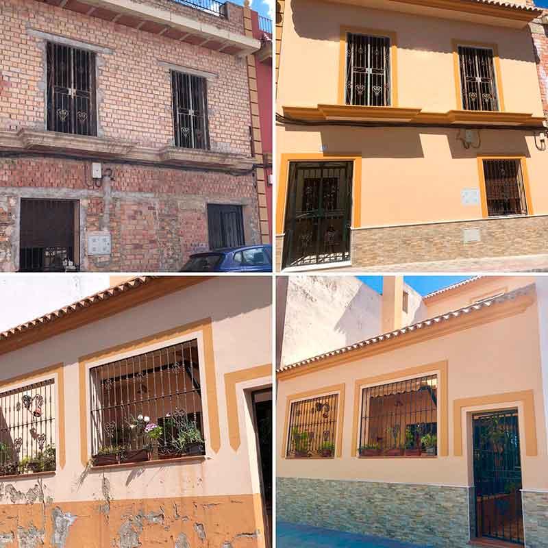 Fachadas de una vivienda antes y después de su rehabilitación